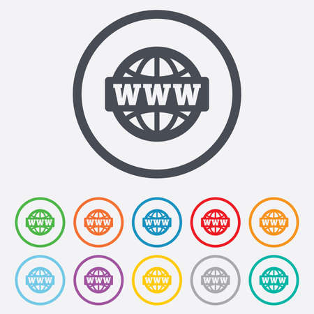 www at sign: WWW sign icon. World wide web symbol. Globe. Round circle buttons with frame.
