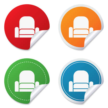 Armchair sign icon. Modern furniture symbol. Round stickers. Circle labels with shadows. Curved corner. photo