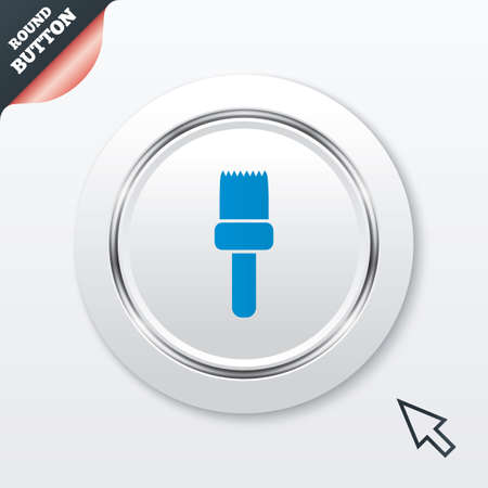 decorator: Paint brush sign icon. Artist symbol. White button with metallic line. Modern UI website button with mouse cursor pointer.