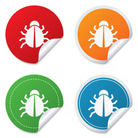 acarus: Bug sign icon. Virus symbol. Software bug error. Disinfection. Round stickers. Circle labels with shadows. Curved corner. Stock Photo