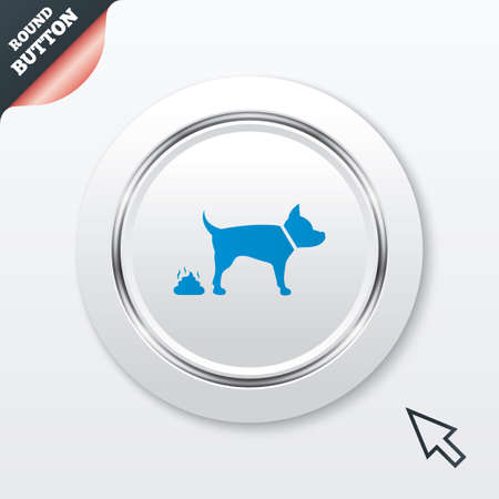 feces: Feces sign icon. Clean up after pets symbol. Put it in the bag. White button with metallic line. Modern UI website button with mouse cursor pointer.