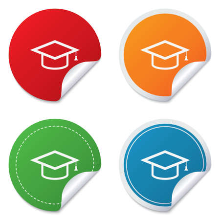 higher quality: Graduation cap sign icon. Higher education symbol. Round stickers. Circle labels with shadows. Curved corner.