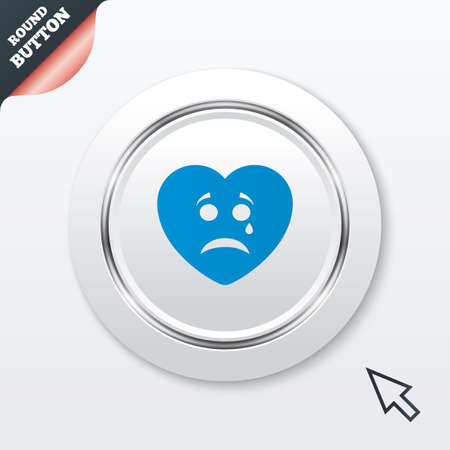 Sad heart face with tear sign icon. Crying chat symbol. White button with metallic line. Modern UI website button with mouse cursor pointer. photo