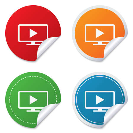 widescreen: Widescreen TV mode sign icon. Television set symbol. Round stickers. Circle labels with shadows. Curved corner. Stock Photo