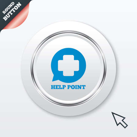 Help point sign icon. Medical cross symbol. White button with metallic line. Modern UI website button with mouse cursor pointer. photo