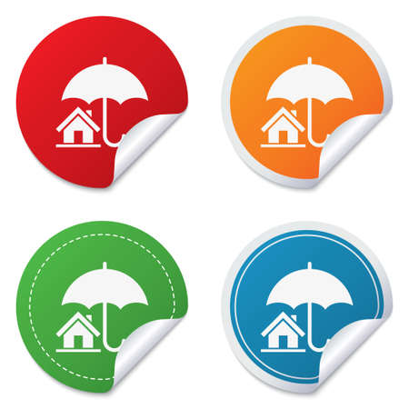 belay: Home sign icon. Real estate insurance symbol. Round stickers. Circle labels with shadows. Curved corner.