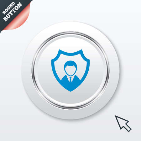 Security agency sign icon. Shield protection symbol. White button with metallic line. Modern UI website button with mouse cursor pointer. photo