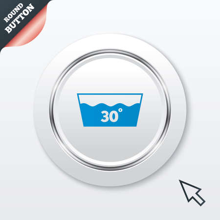 washable: Wash icon. Machine washable at 30 degrees symbol. White button with metallic line. Modern UI website button with mouse cursor pointer. Stock Photo