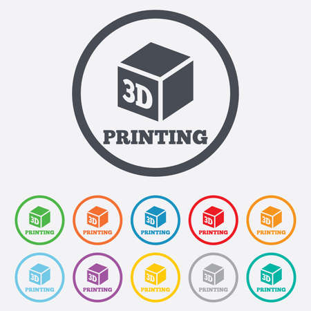 3D Print sign icon. 3d cube Printing symbol. Additive manufacturing. Round circle buttons with frame. Vector Vector