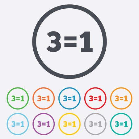 equals: Drei f�r ein Zeichen-Symbol. Nehmen Sie drei Lohn f�r einen Verkauf-Taste. 3 gleich 1. Runde Kreis Schaltfl�chen mit Rahmen. Vektor