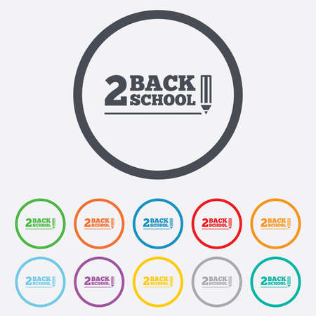 Back to school sign icon. Back 2 school pencil symbol. Round circle buttons with frame. Vector Vector