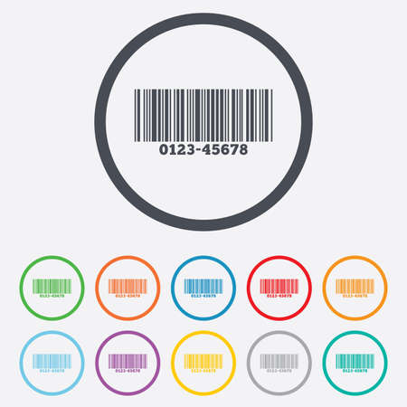 code bar: Bar code sign icon. Scan code symbol. Round circle buttons with frame. Vector