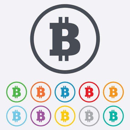 Bitcoin sign icon. Cryptography currency symbol. P2P. Round circle buttons with frame. Vector
