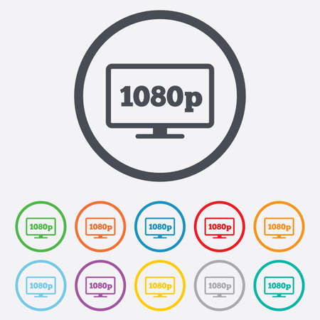 Full hd widescreen tv sign icon. 1080p symbol. Round circle buttons with frame. Vector
