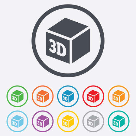 additive manufacturing: 3D Print sign icon. 3d cube Printing symbol. Additive manufacturing. Round circle buttons with frame. Vector