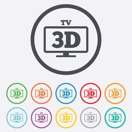 set de television: Icono de se�al de televisi�n en 3D. Televisi�n 3D fij� s�mbolo. La nueva tecnolog�a. Botones de c�rculo redondos con marco. Vector