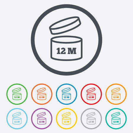 12: After opening use 12 months sign icon. Expiration date. Round circle buttons with frame. Vector