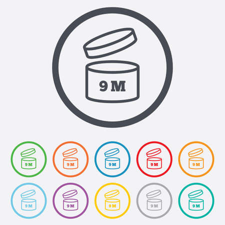 After opening use 9 months sign icon. Expiration date. Round circle buttons with frame. Vector