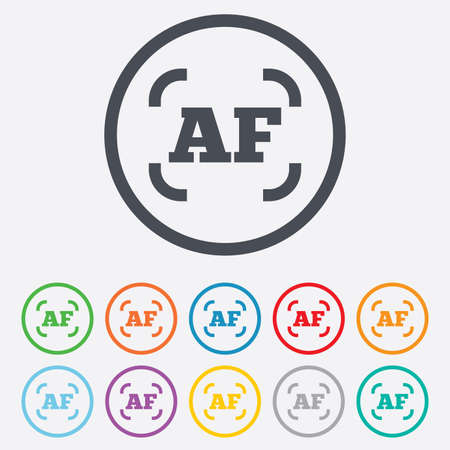 auto focus: Autofocus photo camera sign icon. AF Settings symbol. Round circle buttons with frame. Vector Illustration