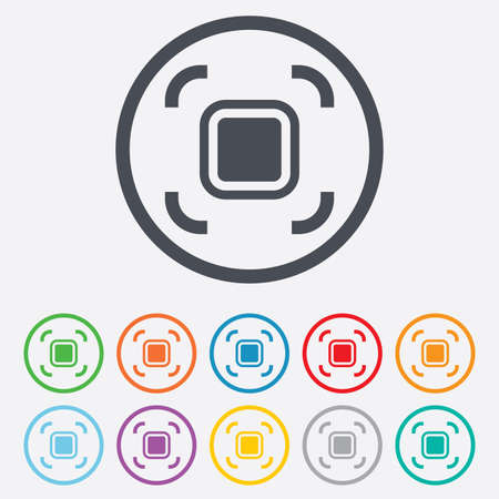 autofocus: Autofocus zone sign icon. Photo camera settings. Round circle buttons with frame. Vector