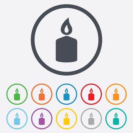 Candle sign icon. Fire symbol. Round circle buttons with frame. Vector Vector