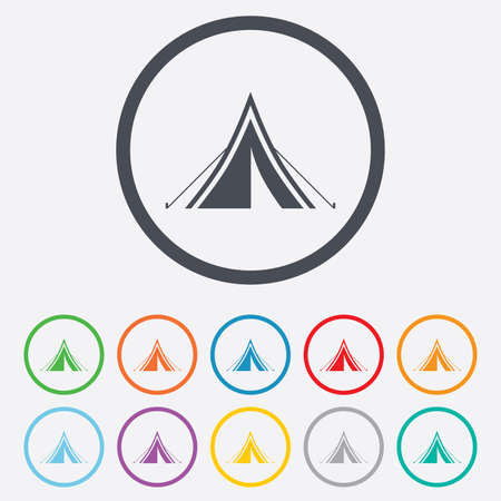 Tourist tent sign icon. Camping symbol. Round circle buttons with frame. Vector Vector