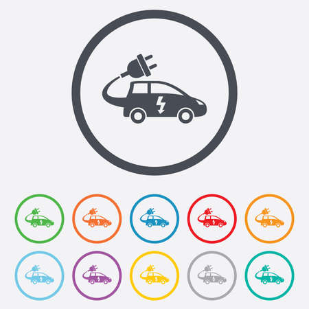 electric vehicle: Auto elettrica icona segno. Simbolo Hatchback. Trasporto del veicolo elettrico. Cerchio pulsanti rotondi con telaio. Vettore