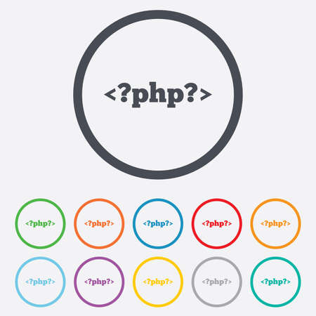 php: PHP sign icon. Programming language symbol. Round circle buttons with frame. Vector