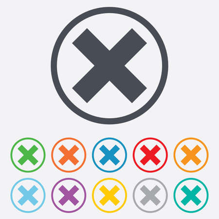 Delete sign icon. Remove button. Round circle buttons with frame. Vector Vector