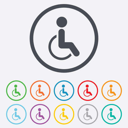 invalid: Disabled sign icon. Human on wheelchair symbol. Handicapped invalid sign. Round circle buttons with frame. Vector