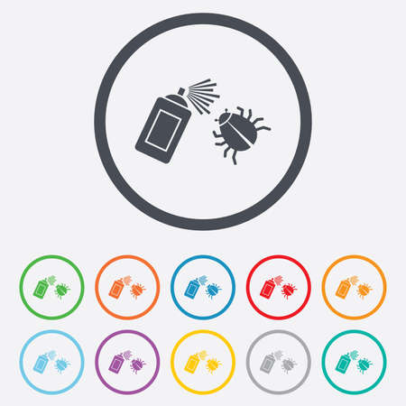 fumigation: Bug disinfection sign icon. Fumigation symbol. Bug sprayer. Round circle buttons with frame. Vector Illustration
