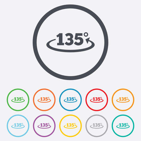 Angle 135 degrees sign icon. Geometry math symbol. Round circle buttons with frame. Vector Vector