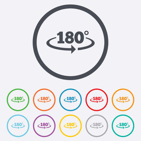 math icon: Angle 180 degrees sign icon. Geometry math symbol. Round circle buttons with frame. Vector