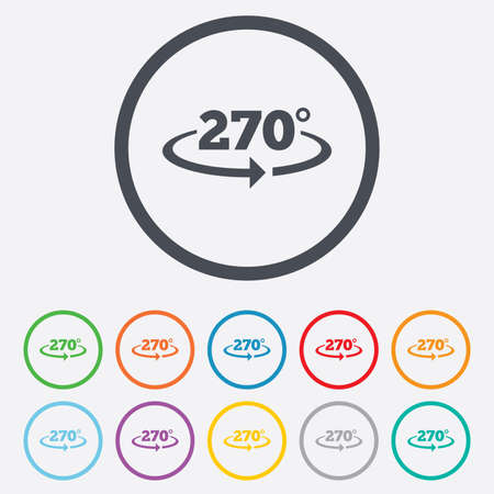 seventy two: Angle 270 degrees sign icon. Geometry math symbol. Round circle buttons with frame. Vector