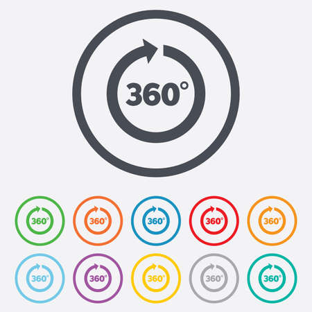 Angle 360 degrees sign icon. Geometry math symbol. Full rotation. Round circle buttons with frame. Vector Vector