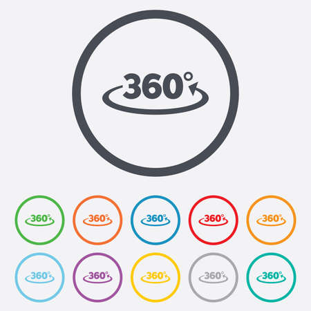 Angle 360 degrees sign icon. Geometry math symbol. Full rotation. Round circle buttons with frame. Vector
