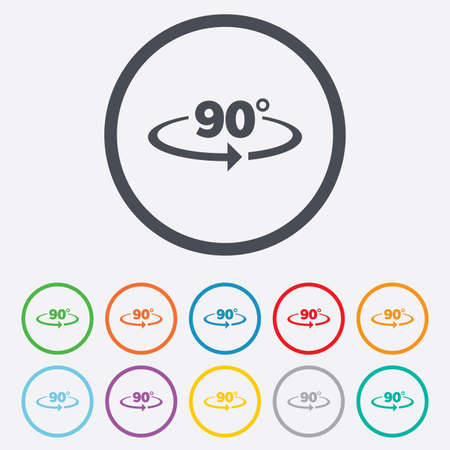 Angle 90 degrees sign icon. Geometry math symbol. Right angle. Round circle buttons with frame. Vector