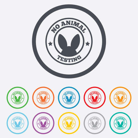 No animals testing sign icon. Not tested symbol. Round circle buttons with frame. Vector Vector