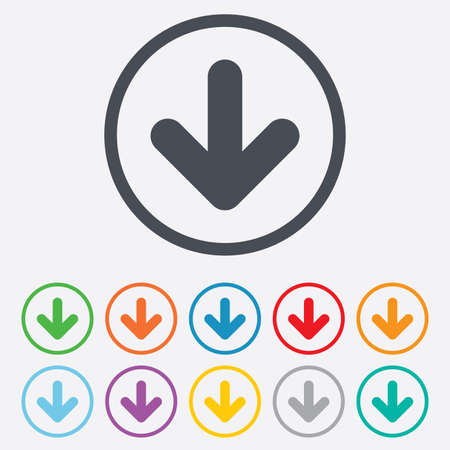 Download icon. Upload button. Load symbol. Round circle buttons with frame. Vector