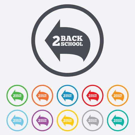 Back to school sign icon. Back 2 school symbol. Round circle buttons with frame. Vector Vector