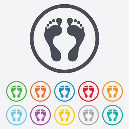 green footprint: Human footprint sign icon. Barefoot symbol. Foot silhouette. Round circle buttons with frame. Vector
