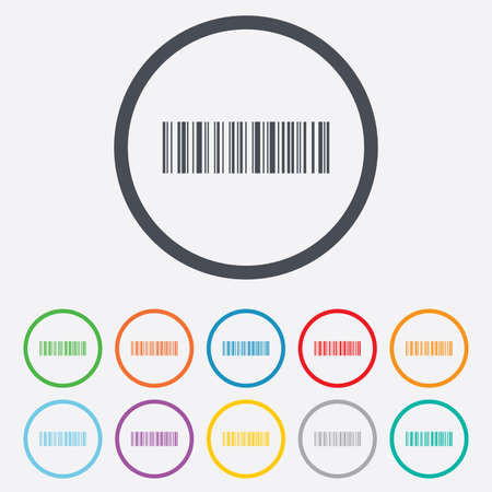 coded: Bar code sign icon. Scan code symbol. Coded word - success! Round circle buttons with frame. Vector