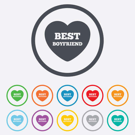 kumpel: Bester Freund Symbol. Herz Liebe Symbol. Runde Kreis Schaltfl�chen mit Rahmen. Vektor