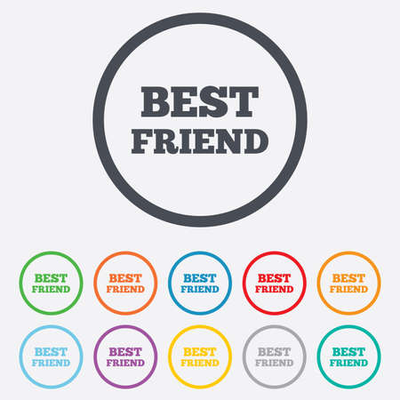 Best Friend Sign Icon Award Symbol Round Circle Buttons With
