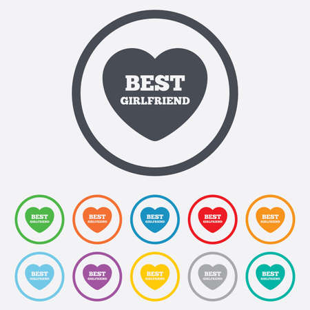 Best girlfriend sign icon. Heart love symbol. Round circle buttons with frame. Vector