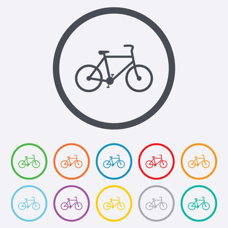 Bicycle sign icon. Eco delivery. Family vehicle symbol. Round circle buttons with frame. Vector Vector