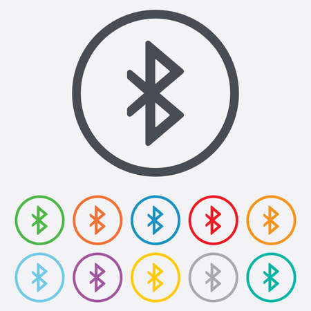 Bluetooth sign icon. Mobile network symbol. Data transfer. Round circle buttons with frame. Vector
