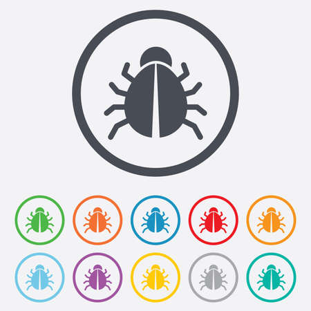 acarus: Bug sign icon. Virus symbol. Software bug error. Disinfection. Round circle buttons with frame. Vector