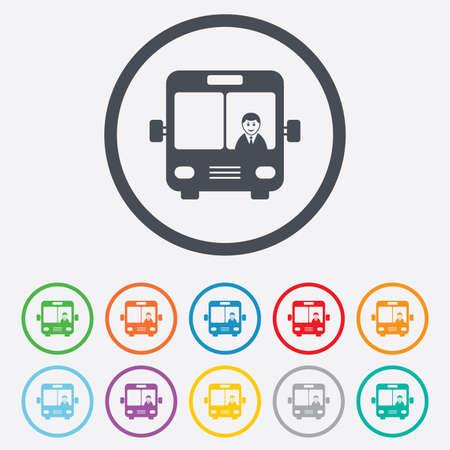 Bus signe icône. Les transports en commun avec le symbole du pilote. Boutons de petit cercle avec un cadre. Vecteur