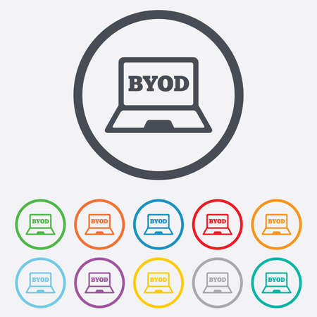 bring: BYOD sign icon. Bring your own device symbol. Laptop icon. Round circle buttons with frame. Vector Illustration